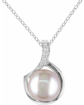 """""""Stella Grace Sterling Silver Dyed Freshwater Cultured Pearl and Diamond Accent Pendant, Women's, Size: 18"""", Pink"""""""