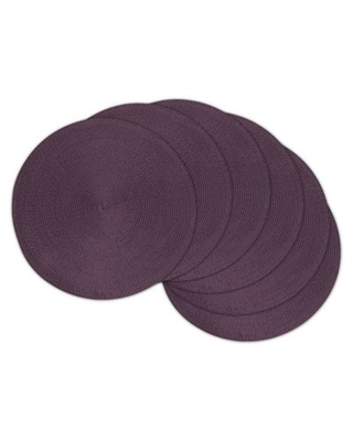 Round Woven Placemats in Eggplant (Set of 6)