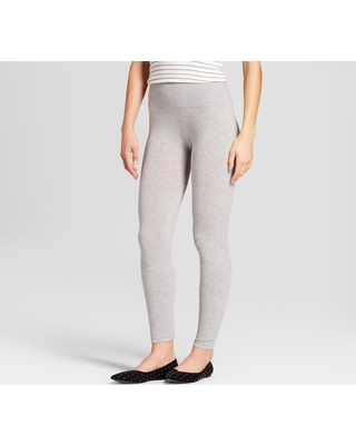 7c4e3b247bbbba Women's Cotton Blend Seamless Waistband Leggings - A New Day Gray L/XL