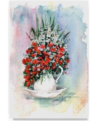 """Trademark Art 'Red White Flowers Sketch' Print on Wrapped Canvas ALI20846-C Size: 24"""" H x 16"""" W"""