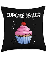 Best Cupcake Food Pastries Bakery Owner Clothes Cute Gift for Men Women Baker Baking Cupcake Lovers Throw Pillow, 18x18, Multicolor