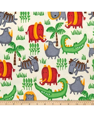 36 x 44 SheetWorld 100/% Cotton Flannel Fabric By The Yard Jungle Animals Yellow