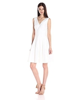 Anne Klein Women's Cotton Eyelet Striped Vneck Fit and Flare Dress, Optic White, 10