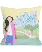 """One Bella Casa Love from NYC 24 New York Girl Throw Pillow 73214PL18 Size: 16"""" x 16"""""""