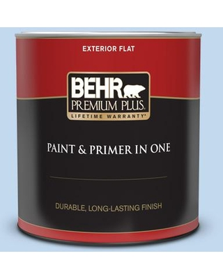 BEHR PREMIUM PLUS 1 qt. #560A-2 Morning Breeze Flat Exterior Paint and Primer in One