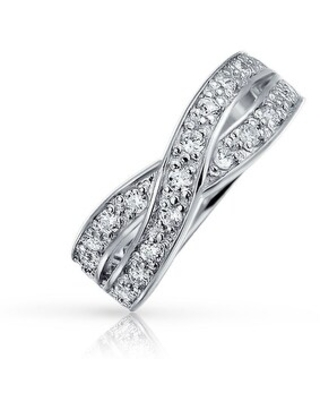 Criss Cross CZ Le Circle Infinity Wedding Band Ring Sterling Silver (6)