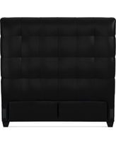"""Gable 60"""" Headboard, Cal King, Leather, Solid, Black"""