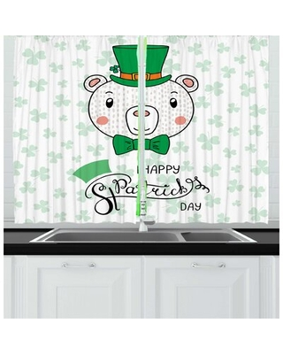 2 Piece Clover Childish Bear with Leprechaun Hat and Bow St Patrick's Day Kitchen Curtain Set East Urban Home