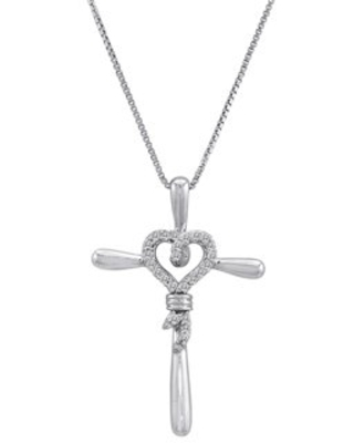 Sterling Silver 1/10 Carat T.W. Diamond Heart/Cross Pendant Necklace, 18""