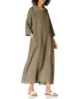 M Made in Italy Women's Cowl Neck 3/4-Sleeve Maxi Dress, Taupe, Small