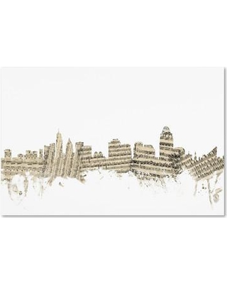 "Trademark Art 'Cincinnati Ohio Skyline Sheet Music' Graphic Art on Wrapped Canvas MT0839-C Size: 12"" H x 19"" W x 2"" D"