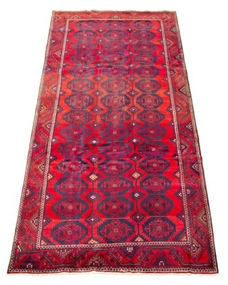 """One-of-a-Kind Rothe Hand-Knotted 1980s Anatolian Red/Blue 4'10"""" x 10'3"""" Runner Wool Area Rug World Menagerie"""