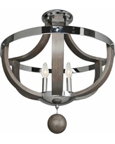 "Sharlow 20"" Wide Ash Wood 3-Light Chrome Ceiling Light"