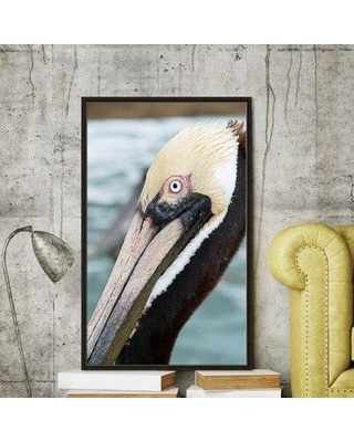 "Highland Dunes 'Bayside Pelican' Photographic Print BI163526 Size: 60"" H x 36"" W x 2"" D Format: Floater Frame"