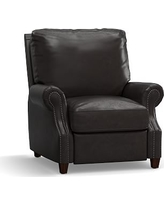 James Leather Recliner, Down Blend Wrapped Cushions, Vintage Midnight