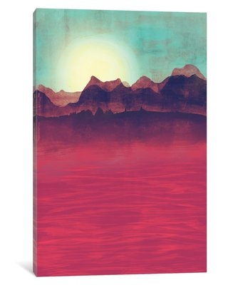 """'Distant Mountains' Graphic Art Print on Wrapped Canvas East Urban Home Size: 12"""" H x 8"""" W x 0.75"""" D"""