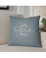 """The Holiday Aisle Gratitude Indoor/Outdoor Throw Pillow HLDY1194 Size: 20"""" H x 20"""" W x 4"""" D, Color: Blue/White"""