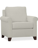 Cameron Roll Arm Upholstered Armchair, Polyester Wrapped Cushions, Basketweave Slub Oatmeal