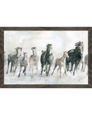 """Millwood Pines 'Running Wild' Framed Watercolor Painting Print W000106908 Size: 35.5"""" H x 51.5"""" W x 0.75"""" D"""