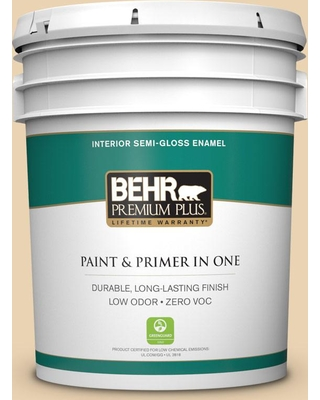 BEHR Premium Plus 5 gal. #S300-2 Powdered Gold Semi-Gloss Enamel Low Odor Interior Paint and Primer in One
