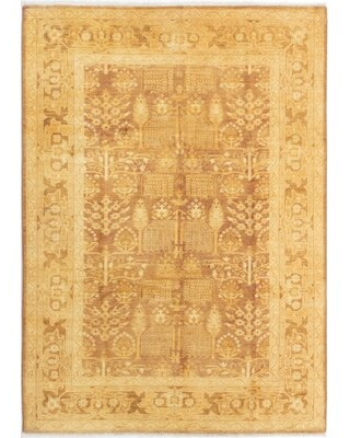 """One-of-a-Kind Othin Hand-Knotted 2010s Ushak Beige 6'3"""" x 8'10"""" Wool Area Rug Bloomsbury Market"""