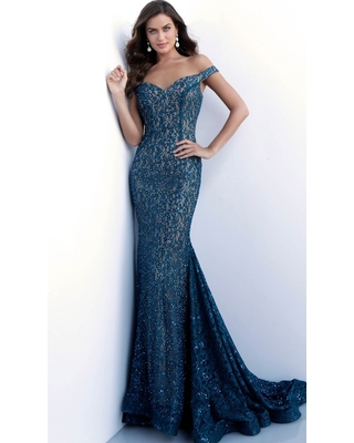 Jovani 64521 Lace Off-Shoulder Mermaid Dress With Train