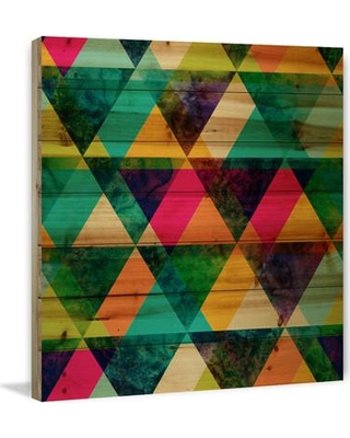 """Marmont HIll 'The Greener Stain' Painting Print on Natural Pine Wood MH-CUSPAT-192-BDW- Size: 32"""" H x 32"""" W x 1.5"""" D"""
