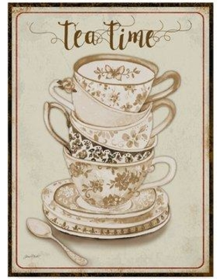 "Trademark Fine Art 'Watercolor Teacups 2' Graphic Art Print on Wrapped Canvas ALI37609-CGG Size: 19"" H x 14"" W x 2"" D"