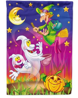 Witch and Ghosts Halloween Garden Flag
