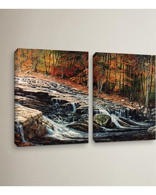 """Loon Peak Autumn Cascade 2 Piece Painting Print on Wrapped Canvas Set LOON5423 Size: 32"""" H x 48"""" W x 2"""" D"""