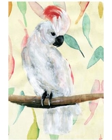 """Oliver Gal 'Tropical Cockatoo' Painting Print on Wrapped Canvas AT18528 Size: 36"""" H x 24"""" W x 1.5"""" D"""