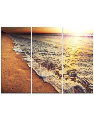 Design Art Foaming Waves at Sea Sunset - 3 Piece Photographic Print on Wrapped Canvas Set PT10495-3P