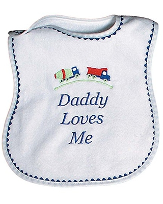 Raindrops Daddy Loves Me Embroidered Bib, Royal Blue
