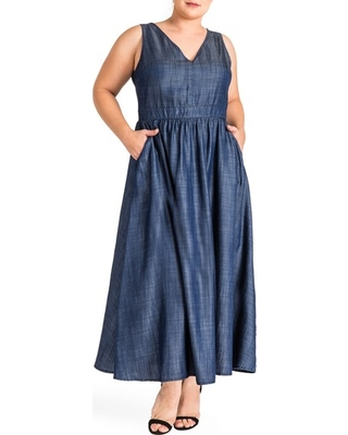 Plus Size Women's Standards & Practices Nimah Maxi Dress, Size 3X - Blue