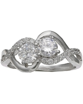 Women's Double Cubic Zirconia Ring with Crossover Band in Sterling Silver - Silver/Clear (7)