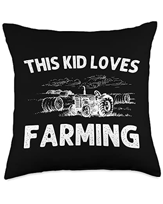 Best Tractor & Livestock Crop Husbandry Designs Funny Gift for Kids Boys Girls Farmer Tractor Farming Throw Pillow, 18x18, Multicolor