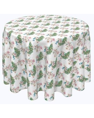 """Bloomsbury Market Vishwakarma Watercolor Peacocks and Flowers Tablecloth X113022560 Size: 102"""" x 102"""""""