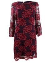 Tommy Hilfiger Women's Lace Bell-Sleeve A-Line Dress - Red Multi