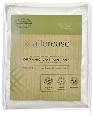 AllerEase Naturals, Waterproof Mattress Pad, Organic Cotton Top - White (Twin)