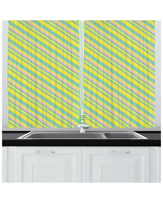 Stripes Abstract Geometrical Pattern of Diagonal Lines in Memphis Colors Kitchen Curtain East Urban Home