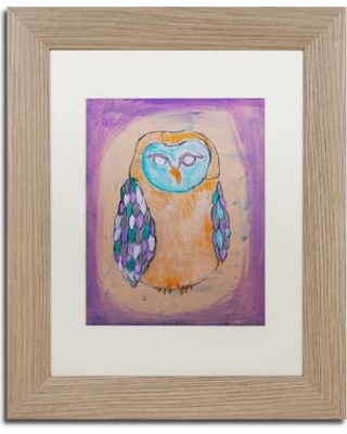 """Trademark Art """"Owl I"""" by Nicole Dietz Framed Painting Print ND0108-T1 Size: 20"""" H x 16"""" W x 0.5"""" D Matte Color: White"""