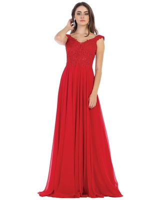 May Queen - V Neck Lace Applique Chiffon Long Formal Dress MQ1602