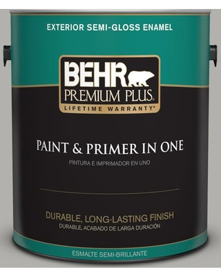 BEHR Premium Plus 1 gal. #BXC-25 Colonnade Gray Semi-Gloss Enamel Exterior Paint and Primer in One