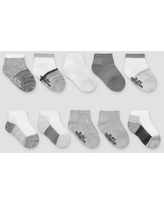 Fruit of the Loom Toddler 10pk Beyondsoft Grow and Fit Ankle Socks - Gray/White 4T-5T
