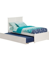 Madison White Twin Platform Bed with Flat Panel Foot Board and Twin Size Urban Trundle Bed