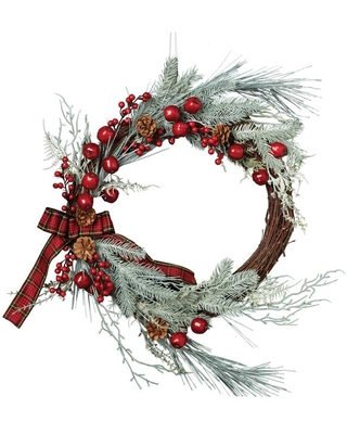 DII 22-in Flocked or Outdoor (Not Powered) Holiday Frosted Berry Artificial Christmas Wreath | CAMZ35914