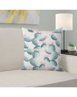 """East Urban Home Painted Cactus Throw Pillow ETRC8231 Size: 14"""" H x 14"""" W x 1.5"""" D"""