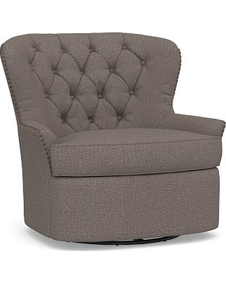 Cardiff Upholstered Tufted Swivel Armchair, Polyester Wrapped Cushions, Performance Brushed Basketweave Charcoal