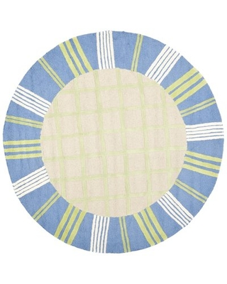 Claro Hand-Hooked Cotton Taupe/Blue Area Rug Harriet Bee Rug Size: Round 6'
