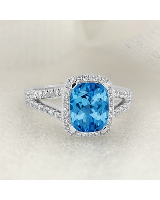 Auriya 1 5/8ct Cushion-cut Swiss Blue Topaz and Halo Diamond Engagement Ring 3/8cttw 14K Gold (7)